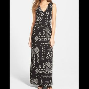 Lucky Bran Gia patchwor print jersey maxi dress